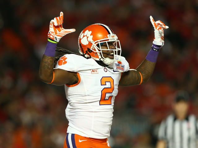 Sammy Watkins #2 of the Clemson Tigers celebrates a touchdown in the first quarter against the Ohio State Buckeyes during the Discover Orange Bowl at Sun Life Stadium on January 3, 2014