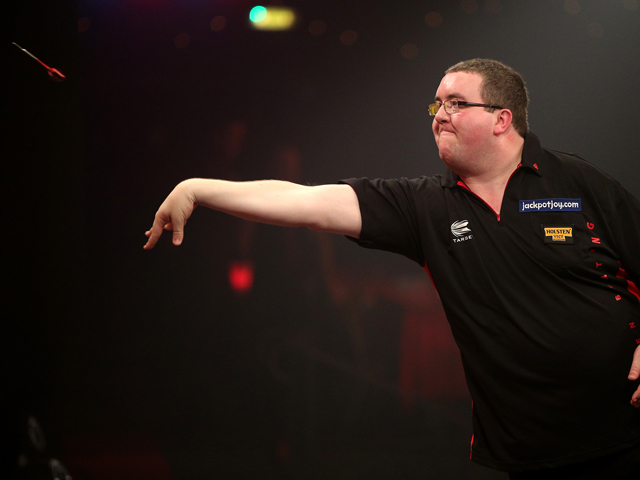 Stephen Bunting of England in action during his first round match against Jim Widmayer of USA during one of the BDO Lakeside World Professional Darts Championships at Lakeside Complex on January 07, 2014