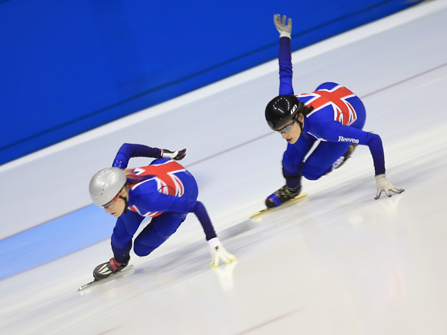 Elise Christie and Charlotte Gilmartin take to the ice for a quick demonstration during the Team GB announcement of the Short Track Athletes to compete at the Sochi 2014 Winter Olympics on December 16, 2013