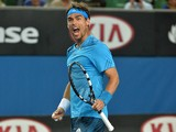 Italy's Fabio Fognini celebrates his victory against Sam Querrey of the US during their men's singles match on day five of the 2014 Australian Open tennis tournament in Melbourne on January 17, 2014