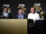Ballon d'Or nominees Cristiano Ronaldo, Lionel Messi and Franck Ribery speak at a press conference before the main ceremony in Zurich on January 13, 2014