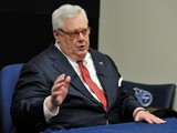 Tommy Smith, President of the Tennessee Titans addresses the media at the Saint Thomas Sports Park on January 14, 2014