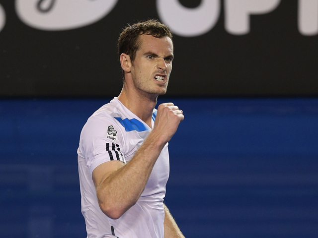 Andy Murray of Great Britain celebrates winning his second round match against Vincent Millot of France during day four of the 2014 Australian Open at Melbourne Park on January 16, 2014