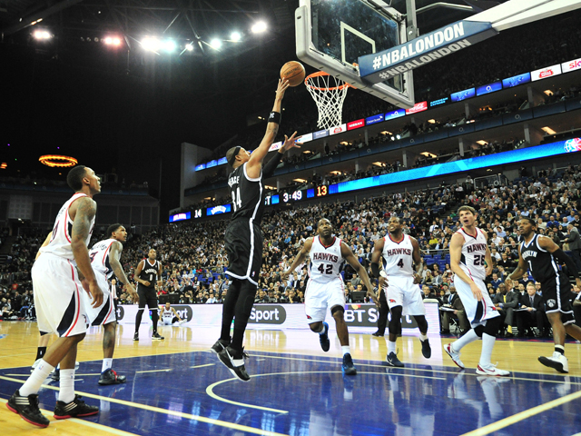 Brooklyn Nets' US player Paul Pierce goes for a basket during the NBA Global Games London 2014 basketball match between Atlanta Hawks and Brooklyn Nets at the O2 Arena in London, on January 16, 2014