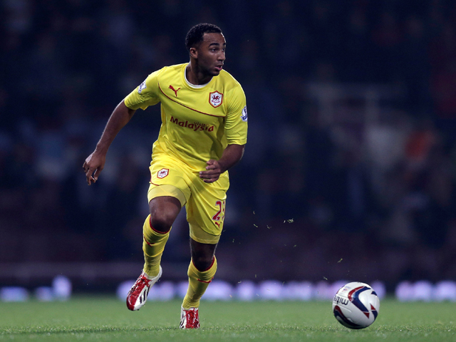 Nicky Maynard of Cardiff City in action during the Capital One Cup third round match between West Ham United and Cardiff City at the Boleyn Ground on September 24, 2013