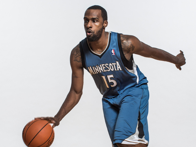 Shabazz Muhammad #15 of the Minnesota Timberwolves poses for a portrait during the 2013 NBA rookie photo shoot at the MSG Training Center on August 6, 2013