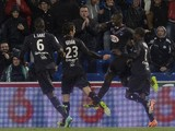 Bordeaux's midfielder Abdou Traore celebrates with teammates after scoring a goal during the French L1 football match between Bordeaux and Saint-Etienne, on January 26, 2014