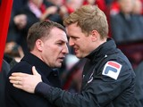 Manager Eddie Howe of Bournemouth greets Manager Brendan Rodgers of Liverpool during the FA Cup Fourth Round match between Bournemouth and Liverpool at Goldsands Stadium on January 25, 2014
