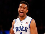 Jabari Parker of the Duke Blue Devils reacts after scoring a basket in the second half against the UCLA Bruins during the CARQUEST Auto Parts Classic on December 19, 2013