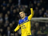 Everton's Kevin Mirallas celebrates after scoring the opening goal against West Brom during their Premier League match on January 20, 2014