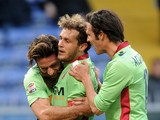 Alessandro Diamanti of Bologna FC celebrates his goal with team mate Davide Moscardelli during the Serie A match UC Sampdoria and Bologna FC at Stadio Luigi Ferraris on January 26, 2014