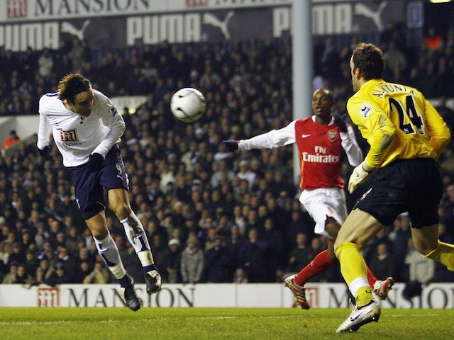 Berbatov of Tottenham Hotspur scores the opening goal during the Carling Cup Semi Final 1st leg match between Tottenham Hotspur and Arsenal at White Hart Lane on January 24, 2007