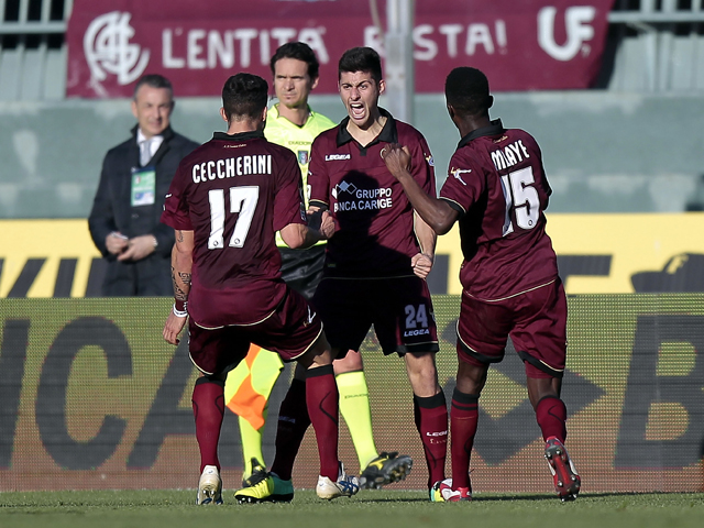 Marco Benassi of AS Livorno Calcio celebrates after scoring a goal during the Serie A match between AS Livorno Calcio and US Sassuolo Calcio at Stadio Armando Picchi on January 26, 2014