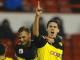 Gabriele Angella of Watford celebrates his first half goal during the Sky Bet Championship match between Nottingham Forest and Watford at City Ground on January 30, 2014