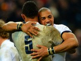 Luther Burrell of England celebrates his try with Courtney Lawes of England during the RBS Six Nations match between France and England at Stade de France on February 1, 2014