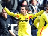 Sunderland's English midfielder Adam Johnson celebrates after scoring his team's second goal during the English Premier League football match between Newcastle United and Sunderland at St James' Park in Newcastle upon Tyne on February 1, 2014