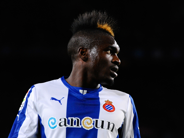 Thievy Bifouma of RCD Espanyol looks on during the La Liga match between FC Barcelona and RCD Espanyol at Camp Nou on November 1, 2013