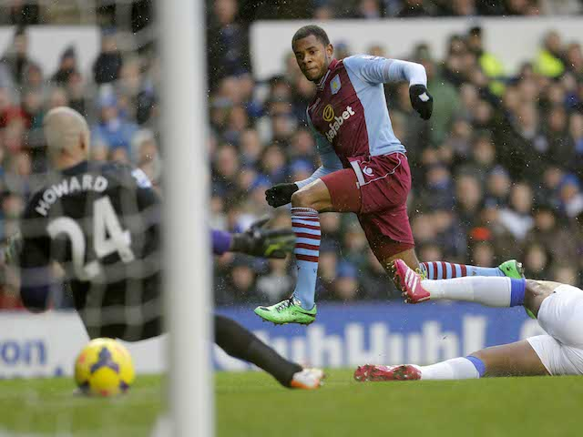Leandro Bacuna of Aston Vila scores the opening goal during the Barclays Premier League match at Goodison Park on February 1, 2014