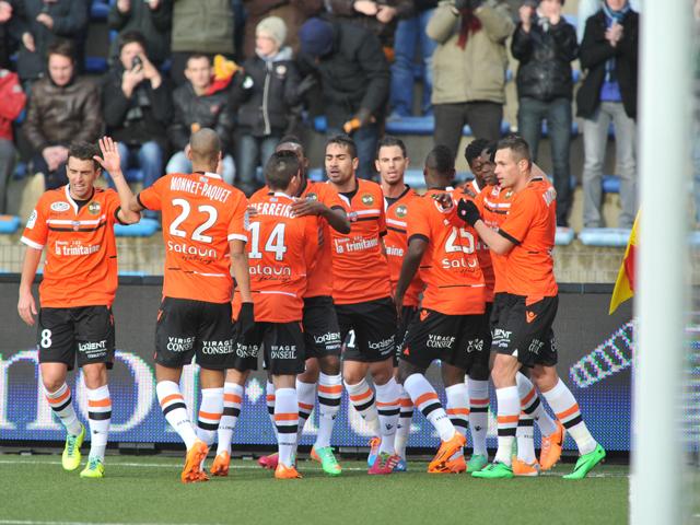 Lorient 39 s player celebrate after forward vincent aboubakar for Lorient match