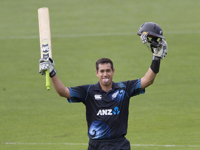 Ross Taylor of New Zealand celebrates 100 runs during the fifth and final international one day cricket match between New Zealand and India in Wellington at Westpac Stadium on January 31, 2014