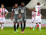 Rennes' Abdoulaye Doucoure celebrates after scoring against Ajaccio during their Ligue 1 match on February 8, 2014