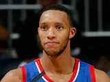 Evan Turner of the Philadelphia 76ers reacts after he turned over the ball to the Atlanta Hawks at Philips Arena on November 15, 2013