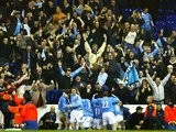 Manchester City players and fans celebrate John Macken's late winner against Tottenham Hotspur on February 04, 2004.