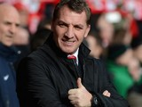 Liverpool Manager Brendan Rodgers gives a thumbs up prior to the Barclays Premier League match between Liverpool and Arsenal at Anfield on February 8, 2014
