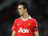 Tom Thorpe of Manchester United looks on during the FA Youth Cup Semi Final 2nd Leg between Manchester United and Chelsea at Old Trafford on April 20, 2011