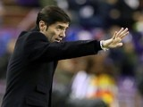 Villarreal's coach Marcelino Garcia Toral reacts during the Spanish league football match Real Valladolid FC vs Villarreal CF at Jose Zorrila stadium in Valladolid on January 25, 2014