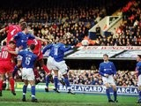 Sami Hyypia scores for Liverpool against Ipswich Town on February 02, 2002.
