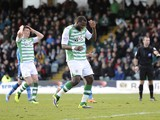 Ishmael Miller of Yeovil Town misses a penalty just before half time during the Sky Bet Championship match between Yeovil Town and Leeds United at Huish Park on February 08, 2014