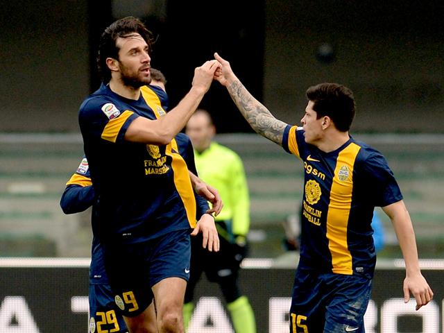 Luca Toni of Hellas Verona celebrates after scoring his teams first goal during the Serie A match between Hellas Verona FC and Juventus at Stadio Marc'Antonio Bentegodi on February 9, 2014