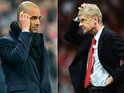 Head coach Josep Guardiola of Bayern Munich and Arsene Wenger the Arsenal manager