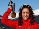 Amy Williams of Great Britain poses for a photo with her Gold Medal after winning the Women's Skeleton event on February 19, 2010