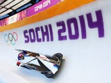 Elana Meyers of United States pilots a bobsleigh practice run ahead of the Sochi 2014 Winter Olympics at the Sanki Sliding Center on February 6, 2014