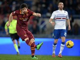 AS Roma forward Mattia Destro kicks the ball and scores during the Italian Serie A football match between AS Roma and UC Sampdoria in Rome's olimpic stadium on February 16, 2014
