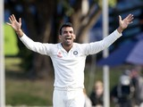 Zaheer Khan of India appeals for an LBW call on Hamish Rutherford of New Zealand during day 2 of the 2nd International Test cricket match between New Zealand and India in Wellington at the Basin Reserve on February 15, 2014