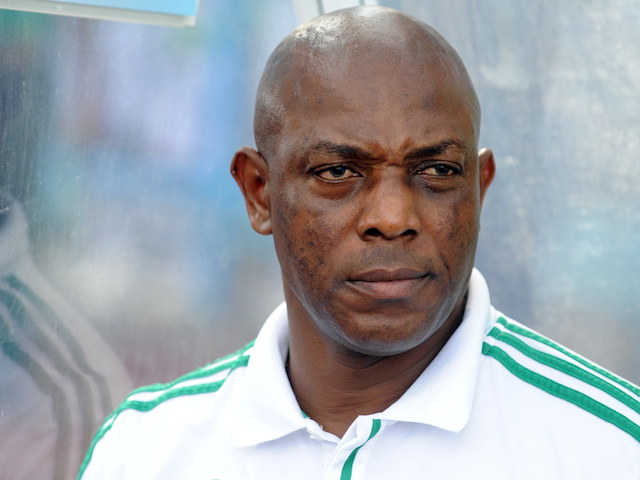 Nigerian Coach Stephen Keshi in the dugout for a FIFA World Cup qualifier in Calabar in November 16, 2013
