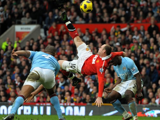 Wayne Rooney scores against Manchester City on February 12, 2011.