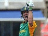 B de Villiers of South Africa celebrates his 100 runs during the 5th ODI match between South Africa and Sri Lanka from Bidvest Wanderers Stadium on January 22, 2012