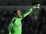 Hull goalkeeper Allan McGregor in action during the Barclays Premier league match between Swansea City and Hull City at the Liberty Stadium on December 9, 2013