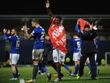Armand Gnanduillet of Chesterfield celebrates after reaching the final of the Johnstone's Paint Northern Area Final match at Proact Stadium on February 18, 2014