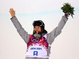 Bronze medalist Ayana Onozuka of Japan celebrates during the flower ceremony in the Freestyle Skiing Ladies' Ski Halfpipe Finals on day thirteen of the 2014 Winter Olympics at Rosa Khutor Extreme Park on February 20, 2014
