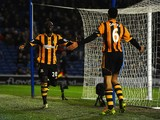 Yannick Sagbo of Hull City celebrates scoring their first goal with Curtis Davies of Hull City during the FA Cup fifth round match between Brighton & Hove Albion and Hull City at Amex Stadium on February 17, 2014