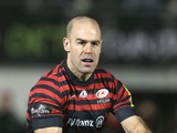 Charlie Hodgson of Saracens passes the ball during the Aviva Premiership match between Saracens and Leicester Tigers at Allianz Park on December 21, 2013