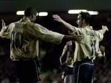 Marc Overmars and Rivaldo celebrate Barcelona's goal against Liverpool on November 20, 2001.