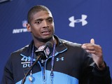 Former Missouri defensive lineman Michael Sam speaks to the media during the 2014 NFL Combine at Lucas Oil Stadium on February 22, 2014
