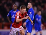 Jamie Paterson of Notts Forest celebrates scoring to make it 1-1 during the Sky Bet Championship match between Nottingham Forest and Leicester City at the City Ground on February 19, 2014