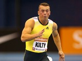 Richard Kilty of Great Britain in the men's 60 metres heats during the Sainsbury's Indoor Grand Prix at the NIA Arena on February 15, 2014